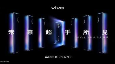 صورة إطلاق هاتف Vivo Apex 2020 في 28 فبراير ، مع عرض شلال 120 درجة