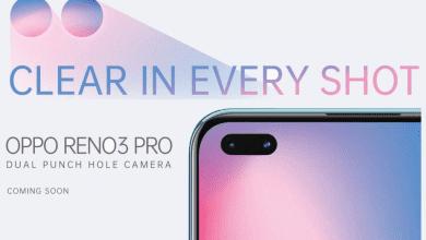 صورة إعلان تشويقي لهاتف Reno3 Pro بكاميرة أمامية مزدوجة في ثقب الشاشة