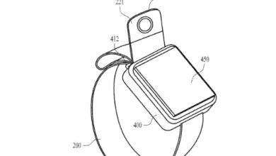 صورة براءة إختراع تكشف عن كاميرة مدمجة قابلة للتدوير في سوارة ساعة ابل