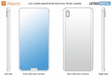 صورة براءة إختراع Xiaomi لهاتف باثنان من كاميرات السيلفي في نتوء أسفل الشاشة