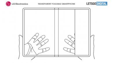 صورة براءة اختراع تكشف عن هاتف قابل للطي وشفاف من LG