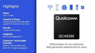 صورة كوالكوم تعلن عن شريحة QCA6390 التي تدعم Wi-Fi 6 والبلوتوث 5.1 في   #MWC2019