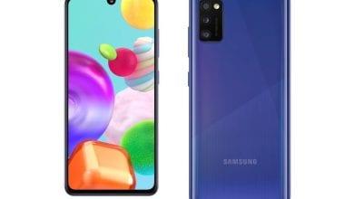 صورة تعرض سامسونج هاتف Galaxy A41 ، وهو هاتف ذكي جديد متوسط المدى
