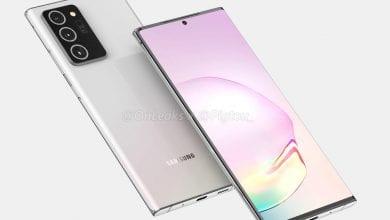 صورة تعرض Samsung Galaxy Note 20 Plus هاتفًا بحجم مماثل لـ Note 10 Plus