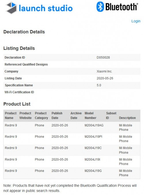 حصل Redmi 9 على شهادة Bluetooth SIG ، وشيك الحدوث