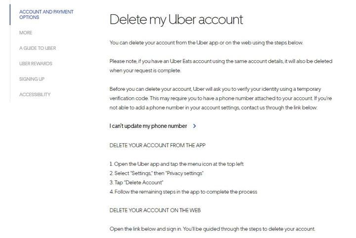 حذف حساب أوبر