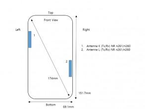 مخططات Samsung Galaxy A71s UW: الأبعاد