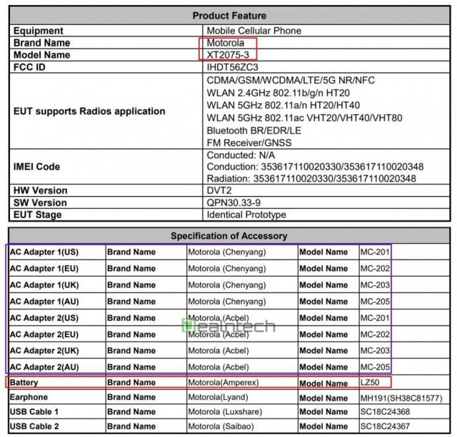 شهادة Moto G 5G Plus FCC