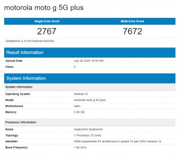 Moto G 5G Plus في Geekbench