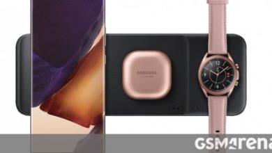 صورة يظهر شاحن Samsung Wireless Charger Trio على موقع Samsung ، ويكشف عن المزيد من المواصفات