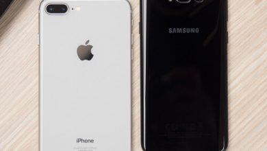 صورة مقارنة بين Apple iPhone 8 Plus و Samsung Galaxy S8 +