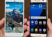 صورة مقارنة بين Google Pixel XL و Samsung Galaxy S7 Edge