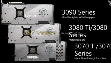 MSI تستعرض مواصفات كروت الشاشة GeForce RTX 3080 Ti وRTX 3070 Ti SUPRIM X