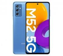 Samsung Galaxy M52 5G باللون الأسود والأبيض والأزرق